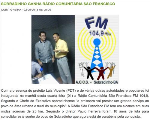 Feierliche Eröffnung des Bürgerradios Sobradinho im Mai 2013